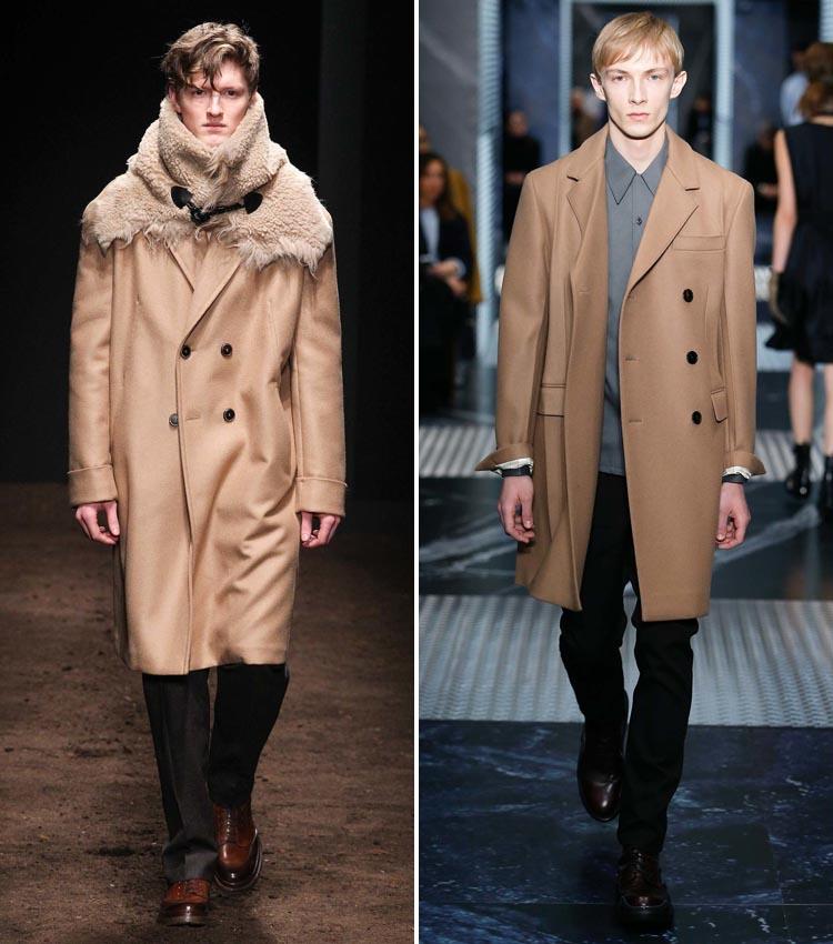 Модное бежевое мужское пальто