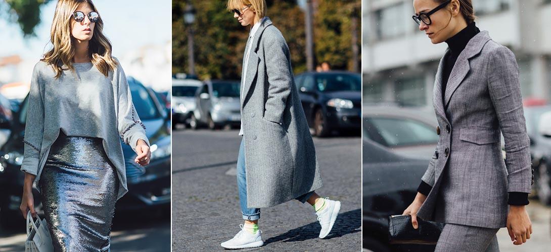 Streetstyle - модный серый цвет в 2019 году