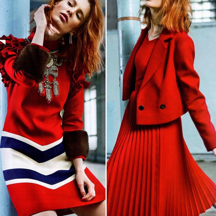 Красные платья, костюмы и юбки этой зимой