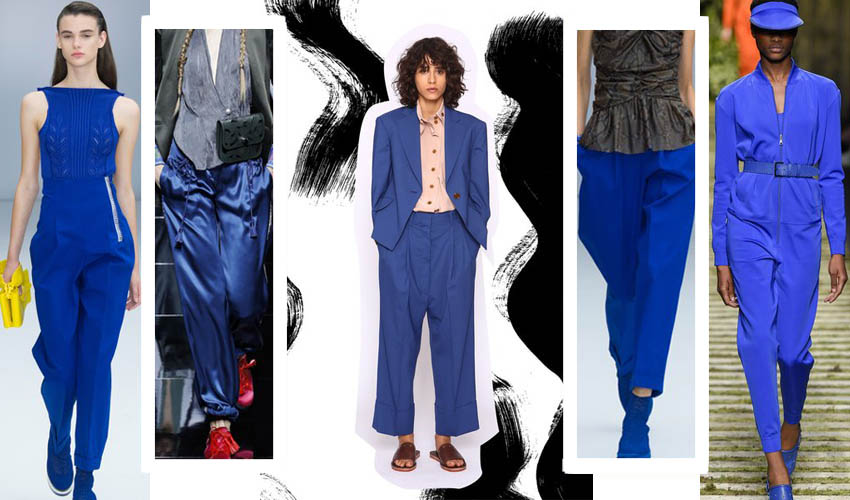 С чем носить женские брюки синего цвета