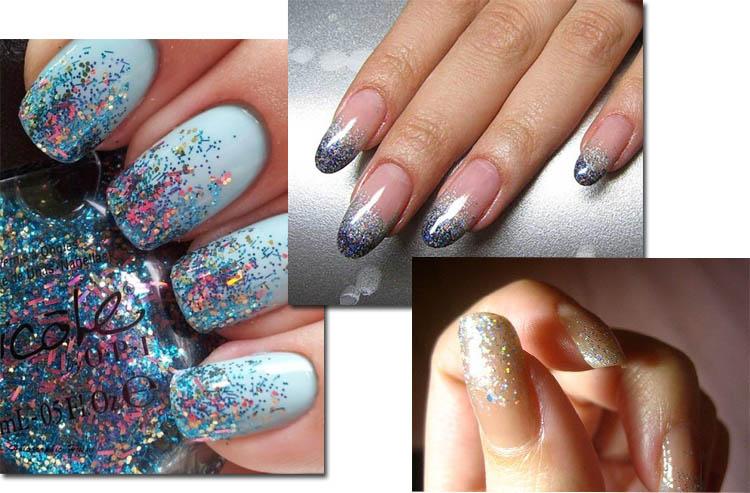 Блестки на ногтях оттенки